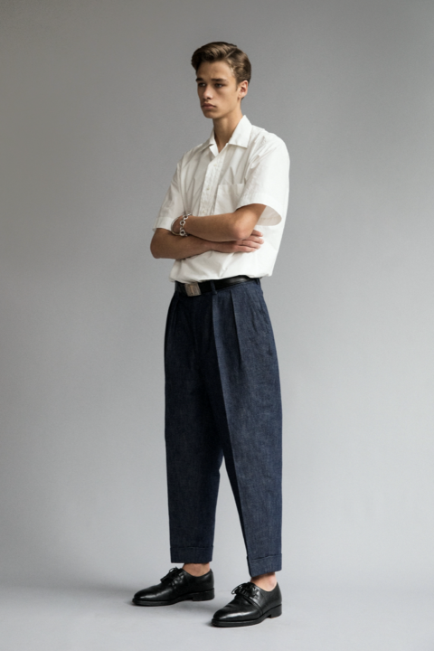 denim wide tapered trousers d-5 20ss